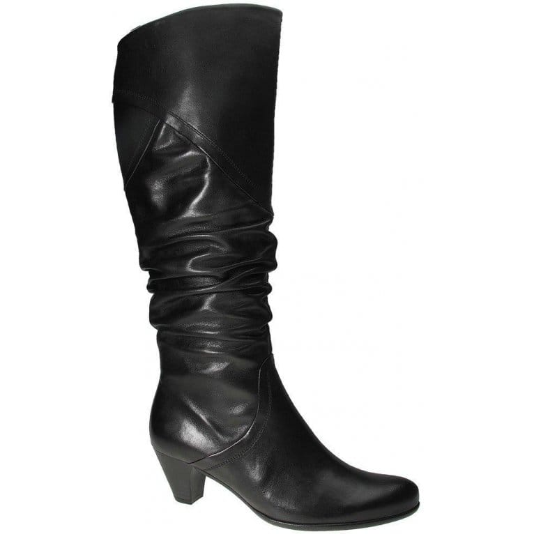 Gabor Coco Black Leather Long Boots