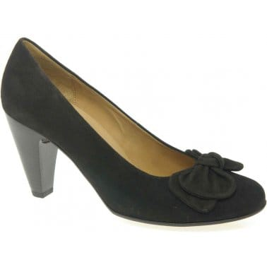 Gabor Treasure Ladies Bow Trim Suede Dress Court Shoes