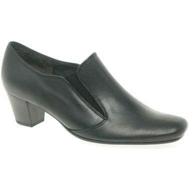 Gabor Alma Ladies Black Leather High Cut Court Shoes