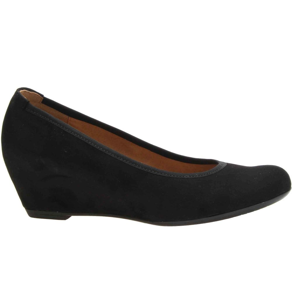 Gabor Black Suede Wedge Shoes