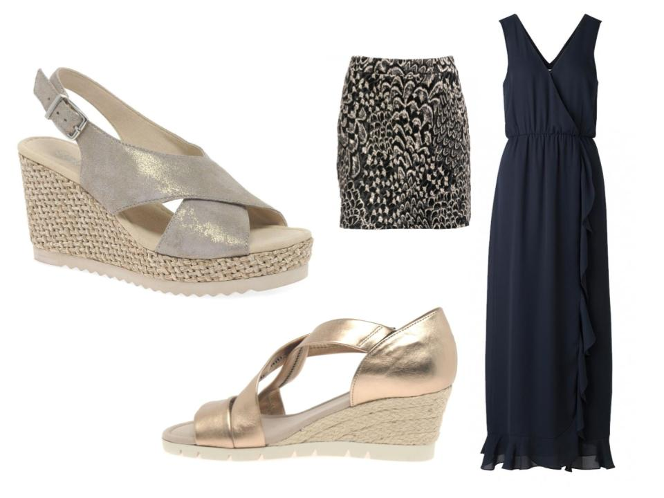 How to wear wedge sandals with dresses and skirts