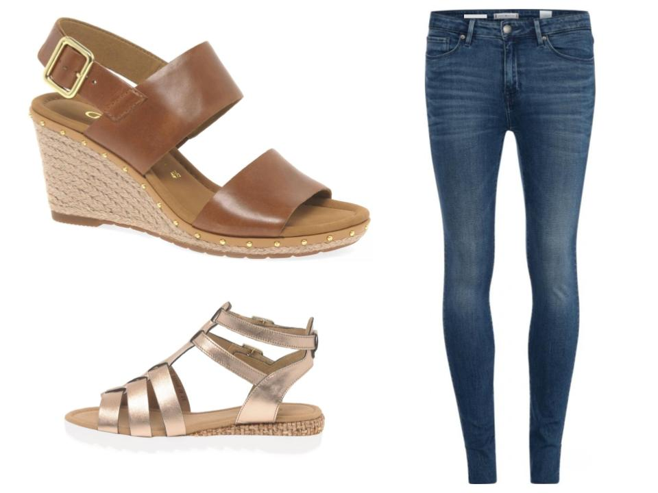 How to wear wedge sandals with jeans