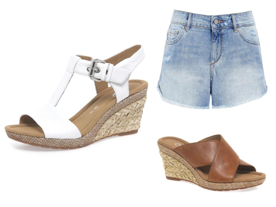 How to wear wedge sandals with shorts