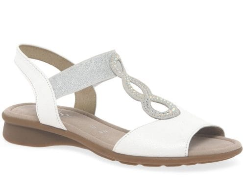 white sandals with navy dress