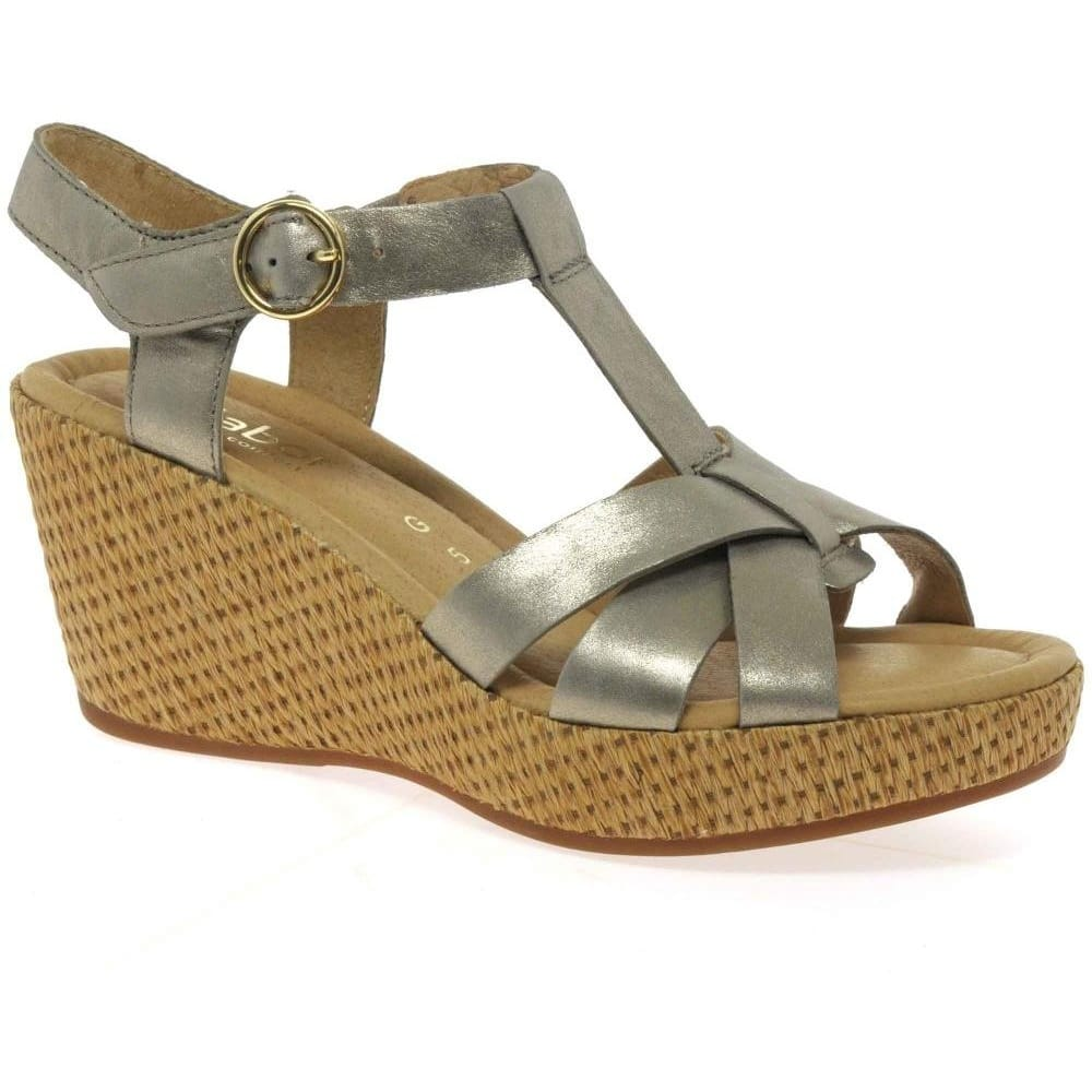 cd391a63eea83 Gabor Adeline Wedges | Leather Velcro Sandals | Charles Clinkard