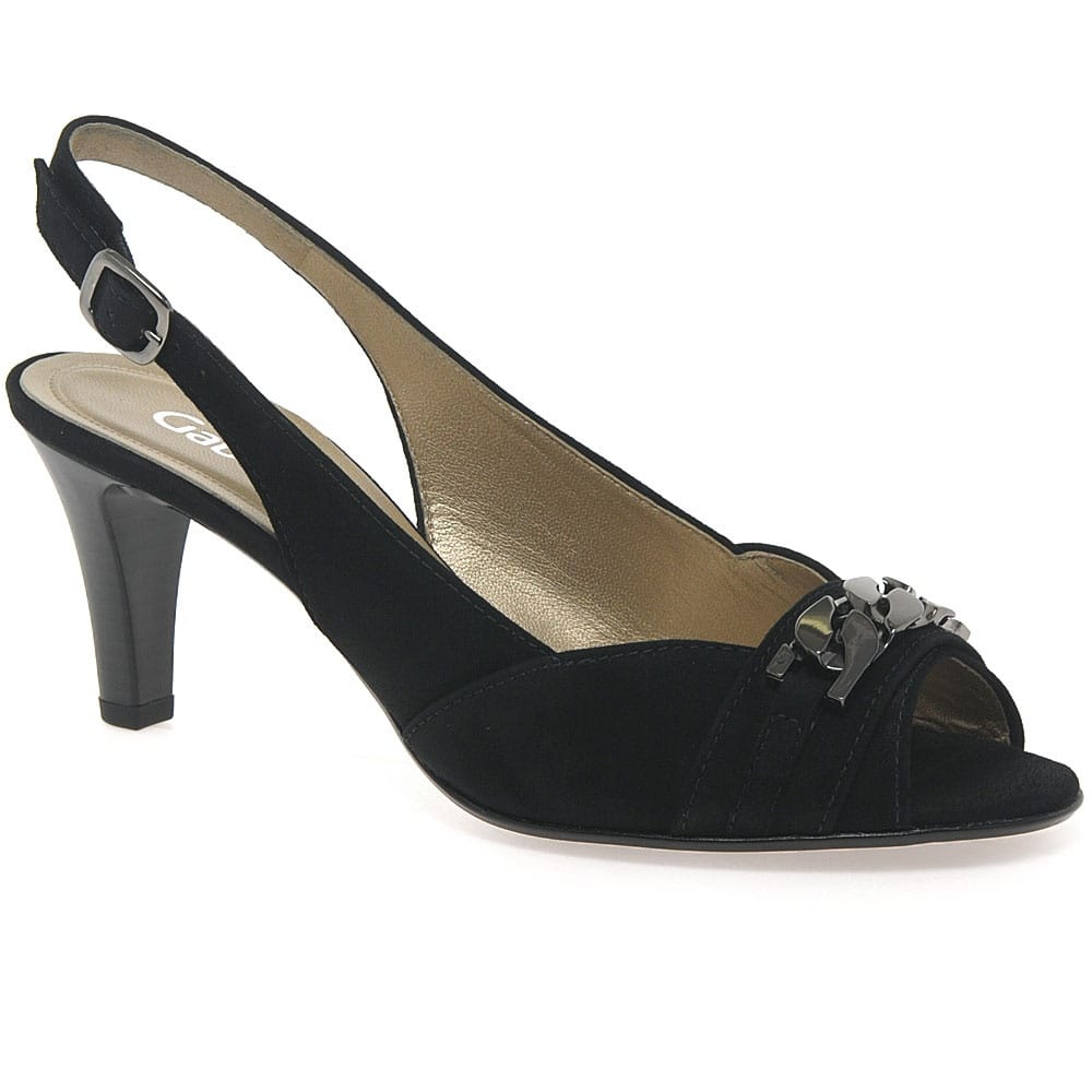 Black Buckle Court Shoes