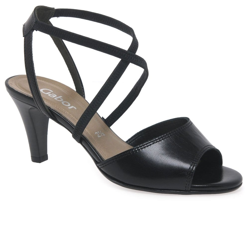 156336ced9f Elan Black Leather Womens Dress Sandal