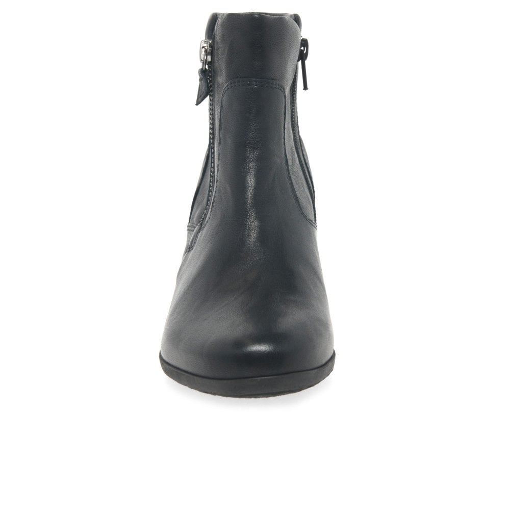Gabor Selina Ladies Zip Classic Leather Ankle Boots   Gabor