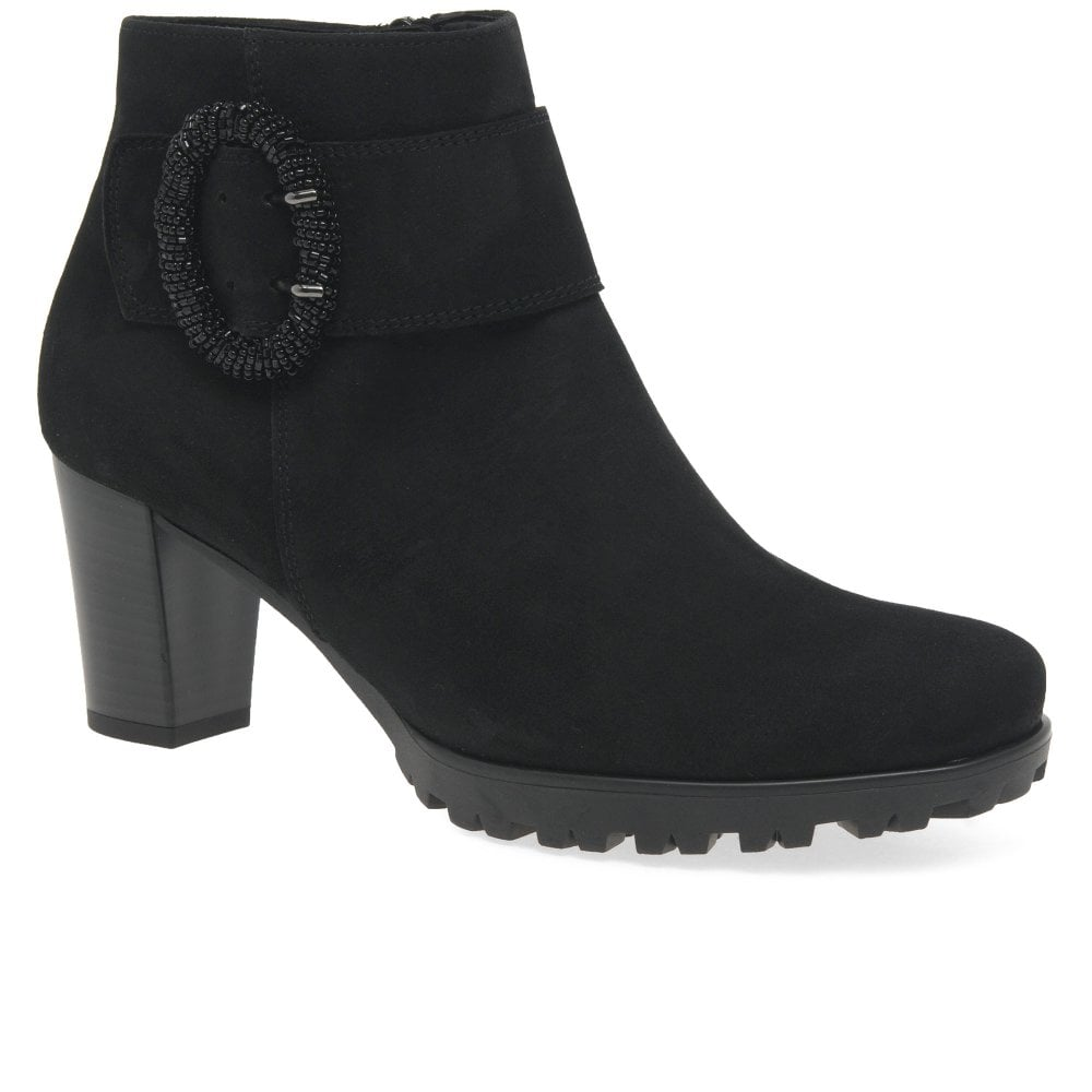 22c780abc18 Winnie Ladies High Heeled Suede Buckle Ankle Boots