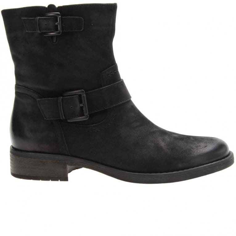 Ladies Black Nubuck Ankle Boots