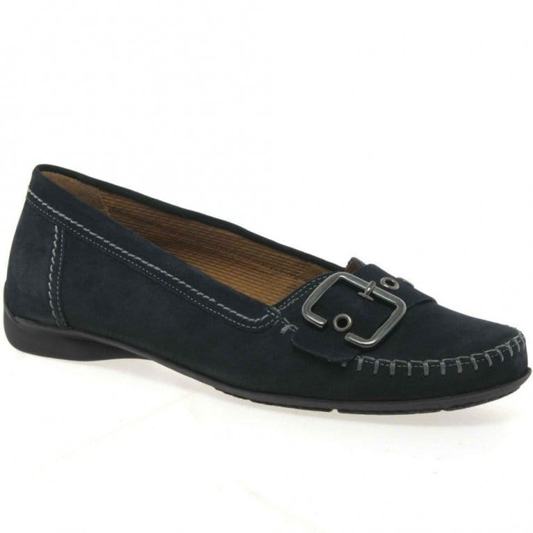 Gabor Ascari Ladies Wide Fit Flat Buckle Trim Casual Pumps