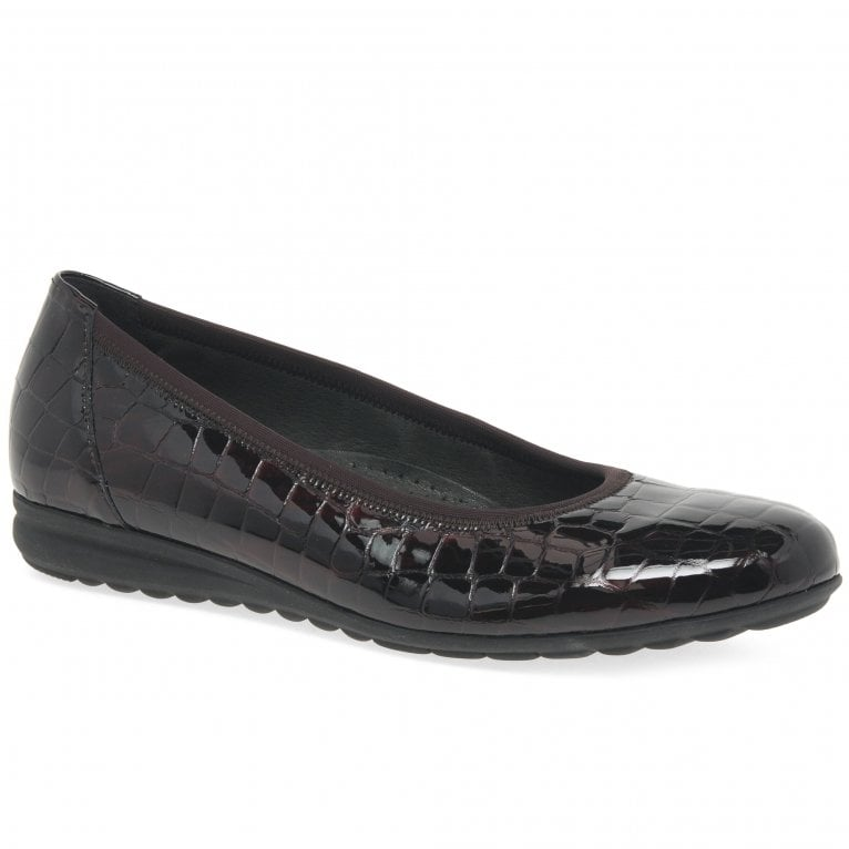 Gabor Splash Ladies Casual Patent Croc Ballet Pumps