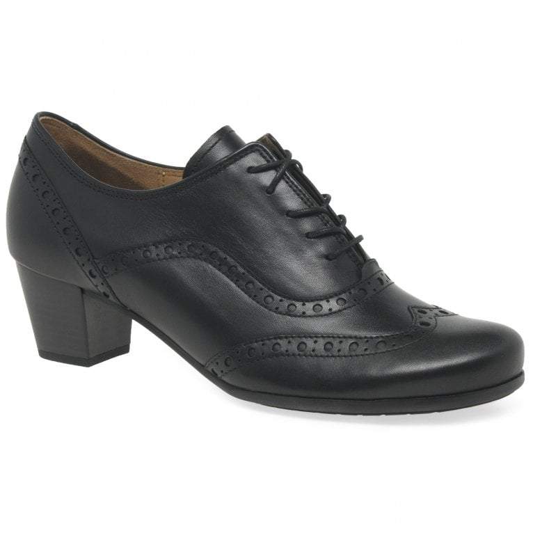 Gabor Denver High Cut Mid Heel Lace Up Brogue Shoes