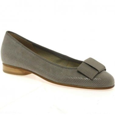 Assist Patent Bow Trim Ladies Ballerina Pumps
