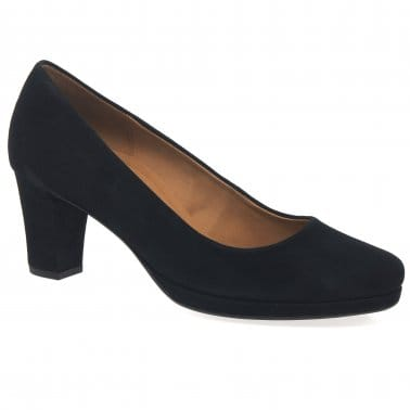 Ella Womens Suede Wide Fitting Court Shoes