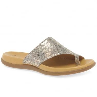 5c6e23db2d3 Lanzarote Toe Loop Womens Mules. Taupe Metallic · Antique Silver · Gabor  Lanzarote Ladies Leather Toe Post Sandals