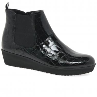 a3c4bf869 Ghost Womens Wedged Ankle Boots · Black Patent Croc