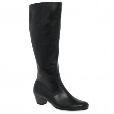 5fd1b092fee Finchie (L) Womens Long Black Leather Boots