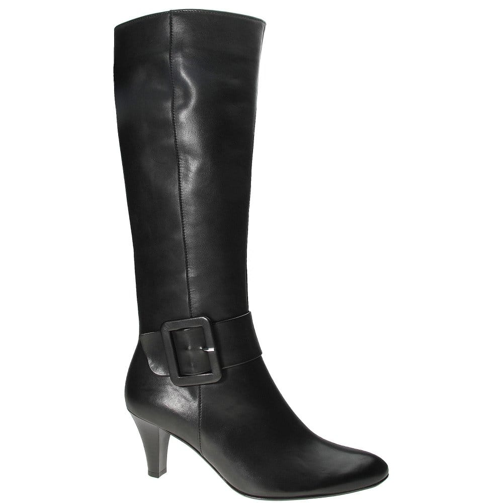 gabor iris black leather buckle detail womens boots